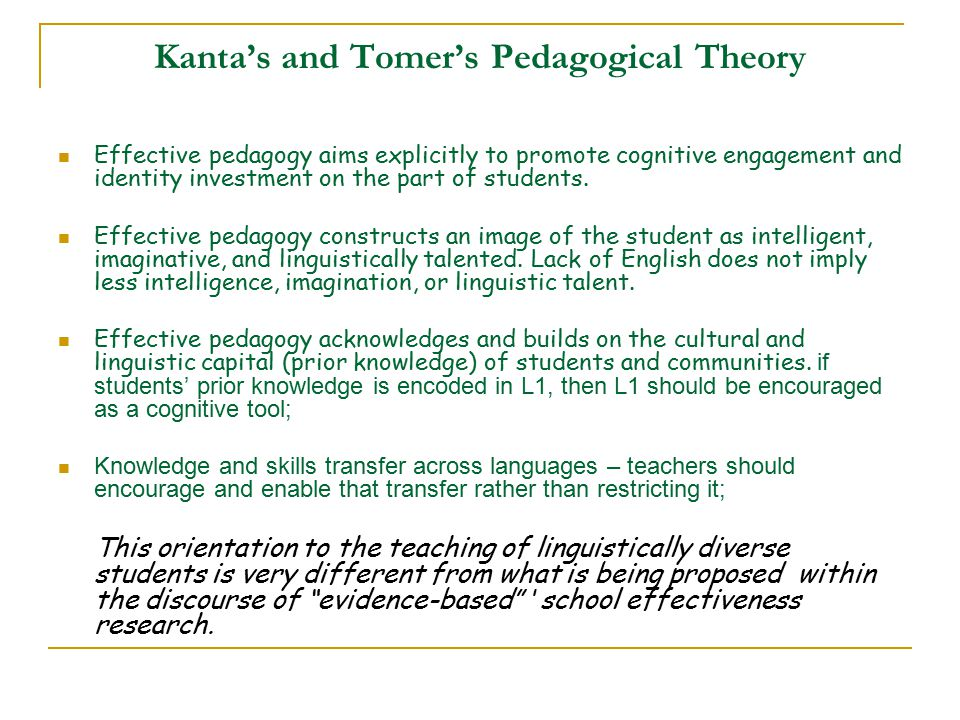 Kanta's and Tomer's Pedagogical Theory Effective pedagogy aims explicitly to promote cognitive engagement and identity investment on the part of students.
