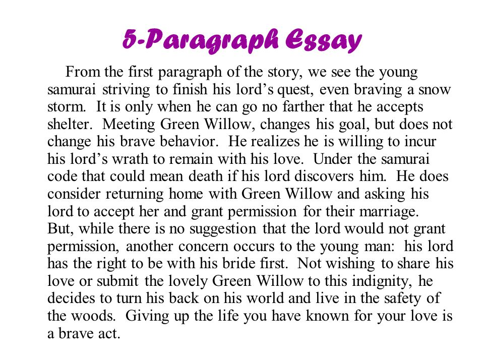 5-Paragraph Essay From the first paragraph of the story, we see the young samurai striving to finish his lord's quest, even braving a snow storm.