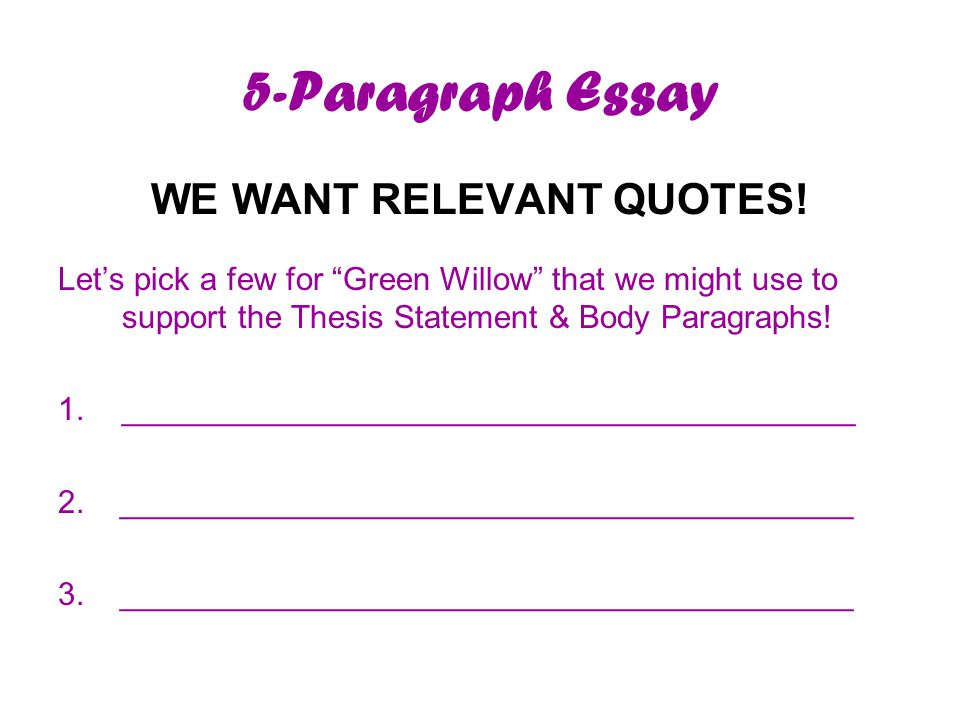 5-Paragraph Essay WE WANT RELEVANT QUOTES.