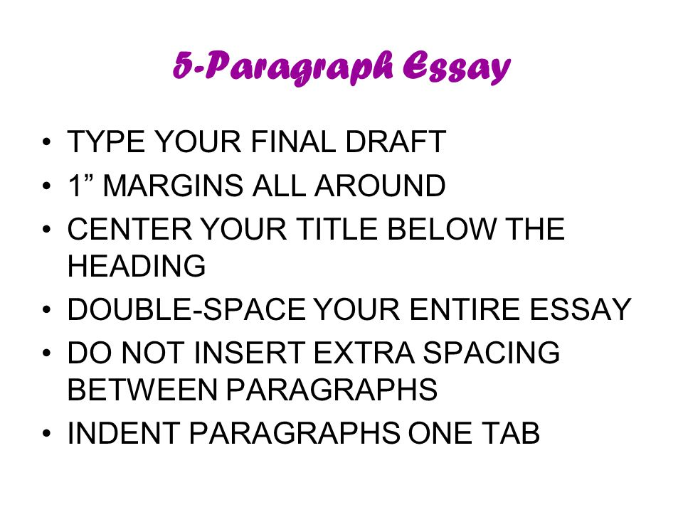 5-Paragraph Essay TYPE YOUR FINAL DRAFT 1 MARGINS ALL AROUND CENTER YOUR TITLE BELOW THE HEADING DOUBLE-SPACE YOUR ENTIRE ESSAY DO NOT INSERT EXTRA SPACING BETWEEN PARAGRAPHS INDENT PARAGRAPHS ONE TAB