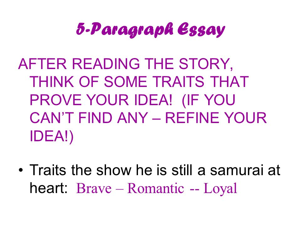 5-Paragraph Essay AFTER READING THE STORY, THINK OF SOME TRAITS THAT PROVE YOUR IDEA.