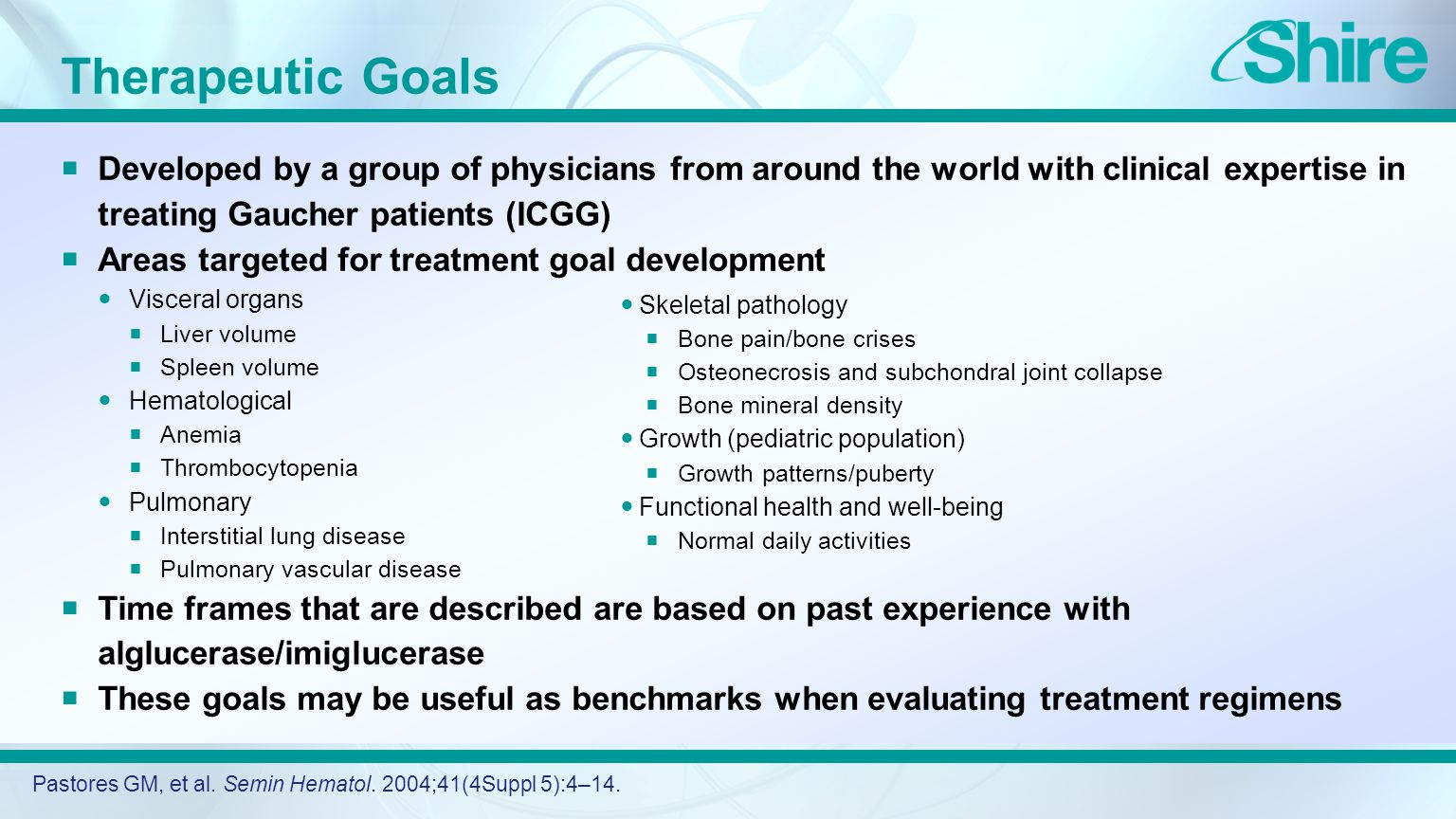 Therapeutic Goals  Developed by a group of physicians from around the world with clinical expertise in treating Gaucher patients (ICGG)  Areas targeted for treatment goal development Visceral organs  Liver volume  Spleen volume Hematological  Anemia  Thrombocytopenia Pulmonary  Interstitial lung disease  Pulmonary vascular disease  Time frames that are described are based on past experience with alglucerase/imiglucerase  These goals may be useful as benchmarks when evaluating treatment regimens Pastores GM, et al.