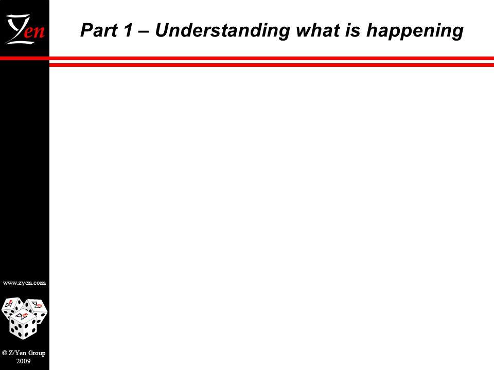 www.zyen.com © Z/Yen Group 2009 Part 1 – Understanding what is happening