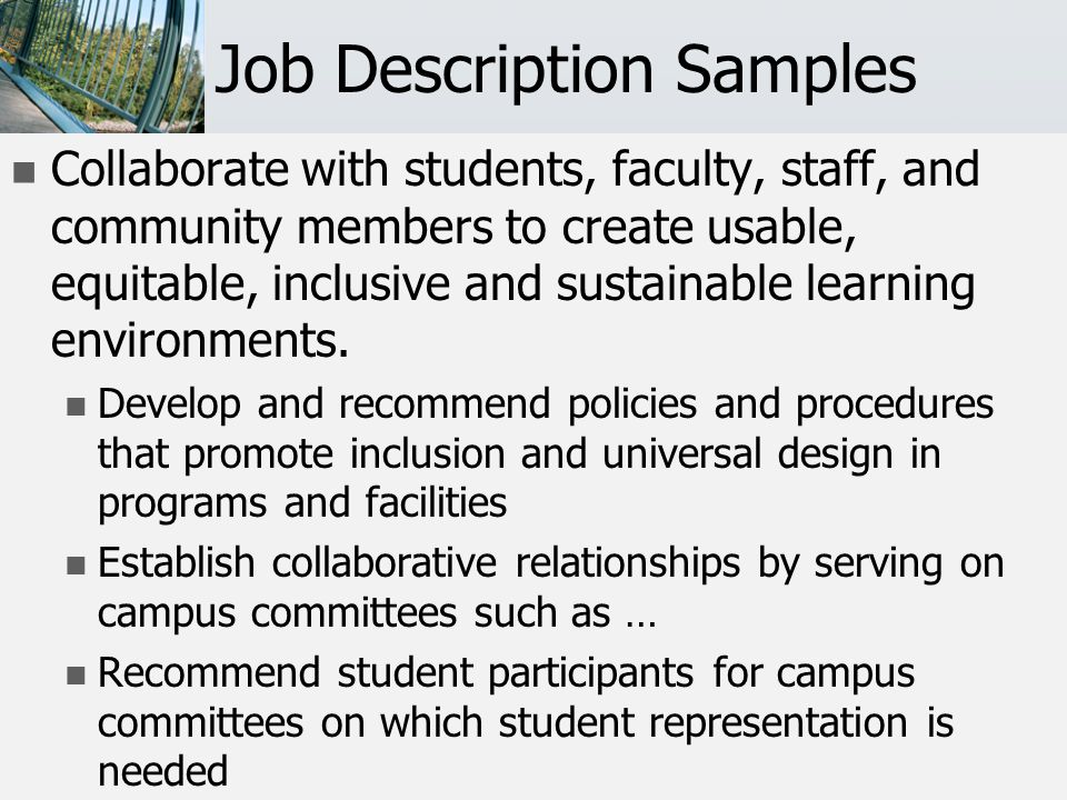 Job Description Samples Old: Duties related to accommodations and case management listed first.