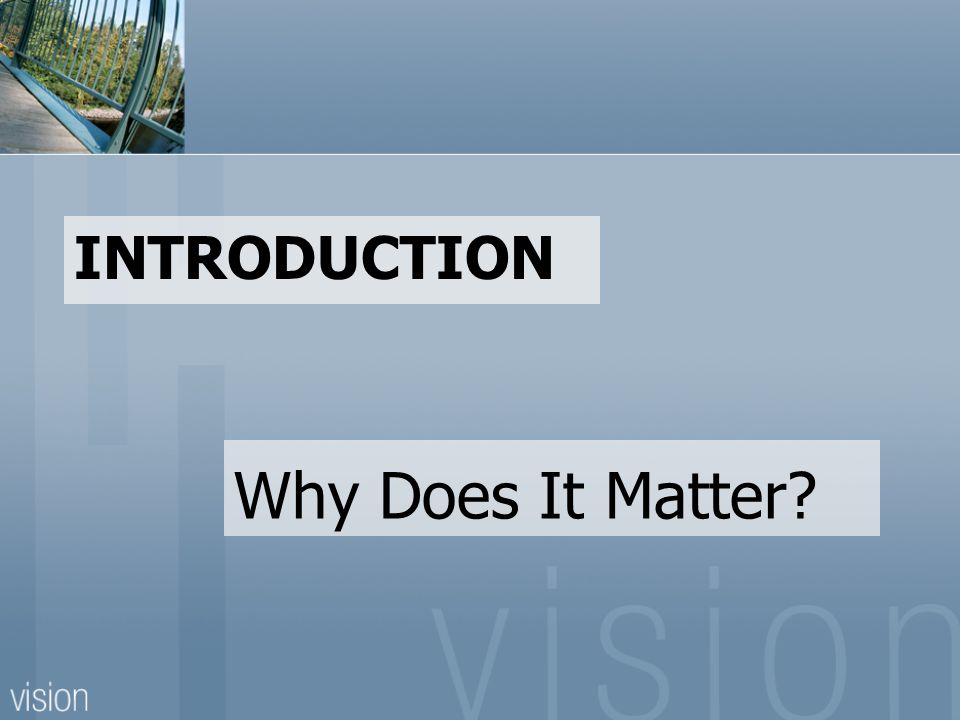 INTRODUCTION Why Does It Matter?