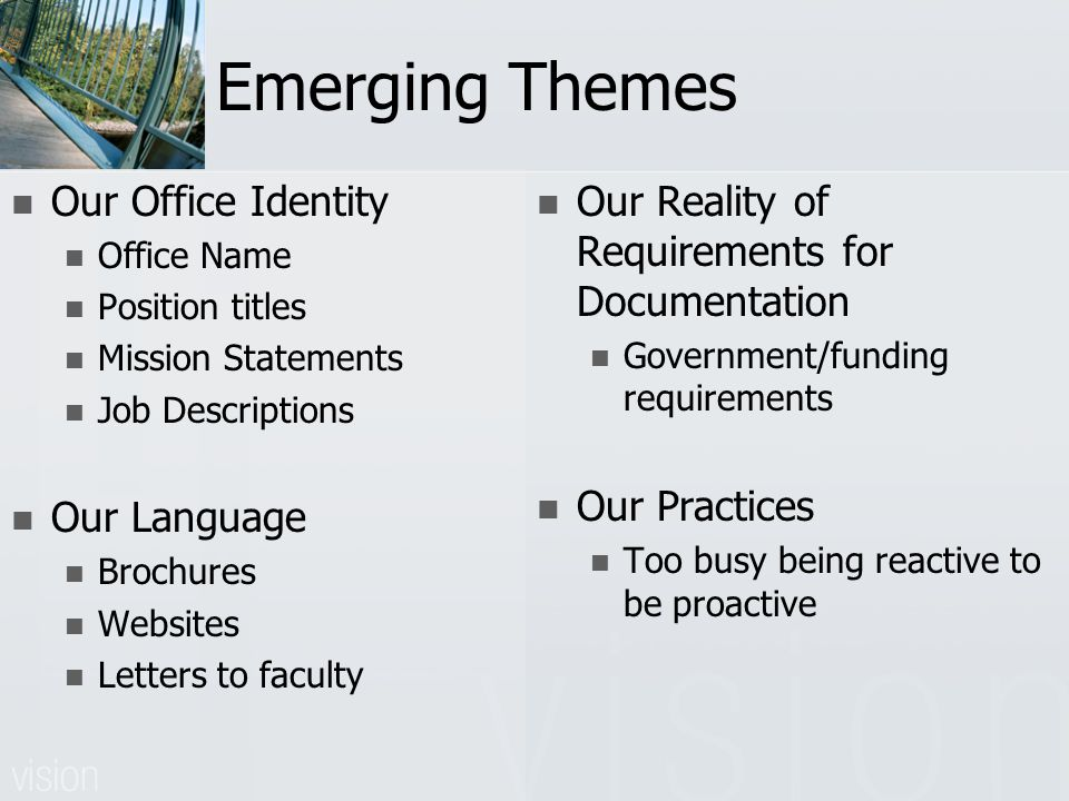 Emerging Themes Our Office Identity Office Name Position titles Mission Statements Job Descriptions Our Language Brochures Websites Letters to faculty Our Reality of Requirements for Documentation Government/funding requirements Our Practices Too busy being reactive to be proactive