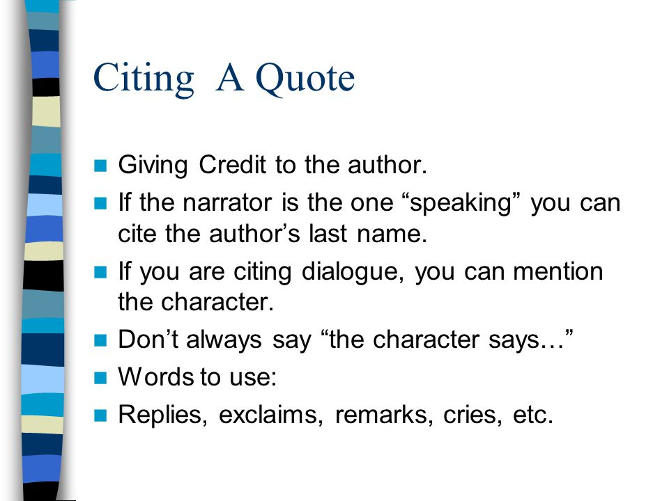 Citing A Quote Giving Credit to the author.