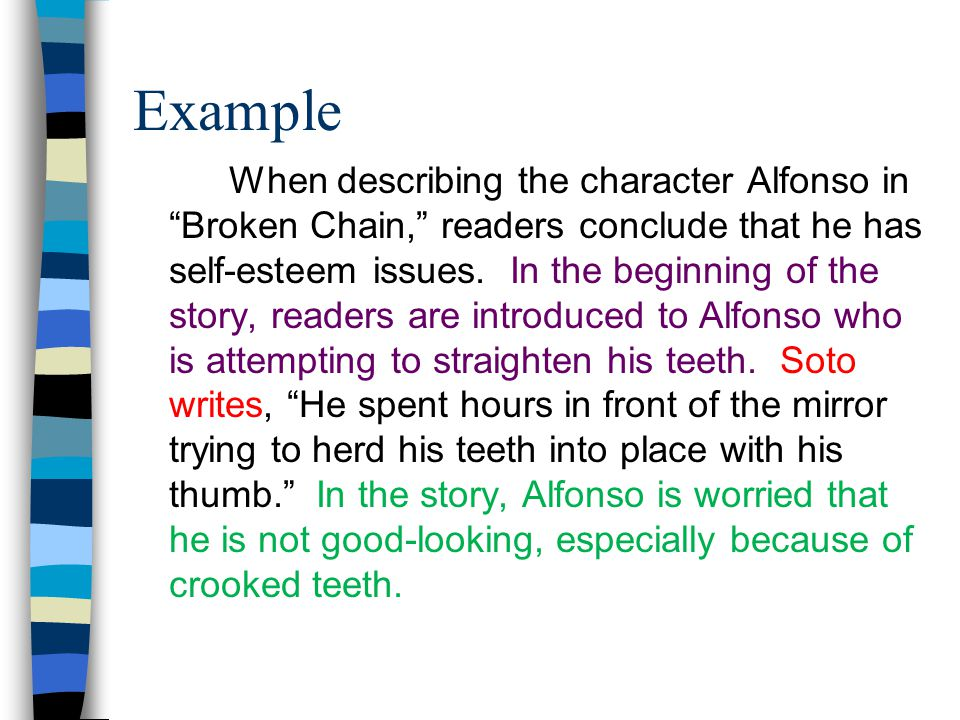 Example When describing the character Alfonso in Broken Chain, readers conclude that he has self-esteem issues.
