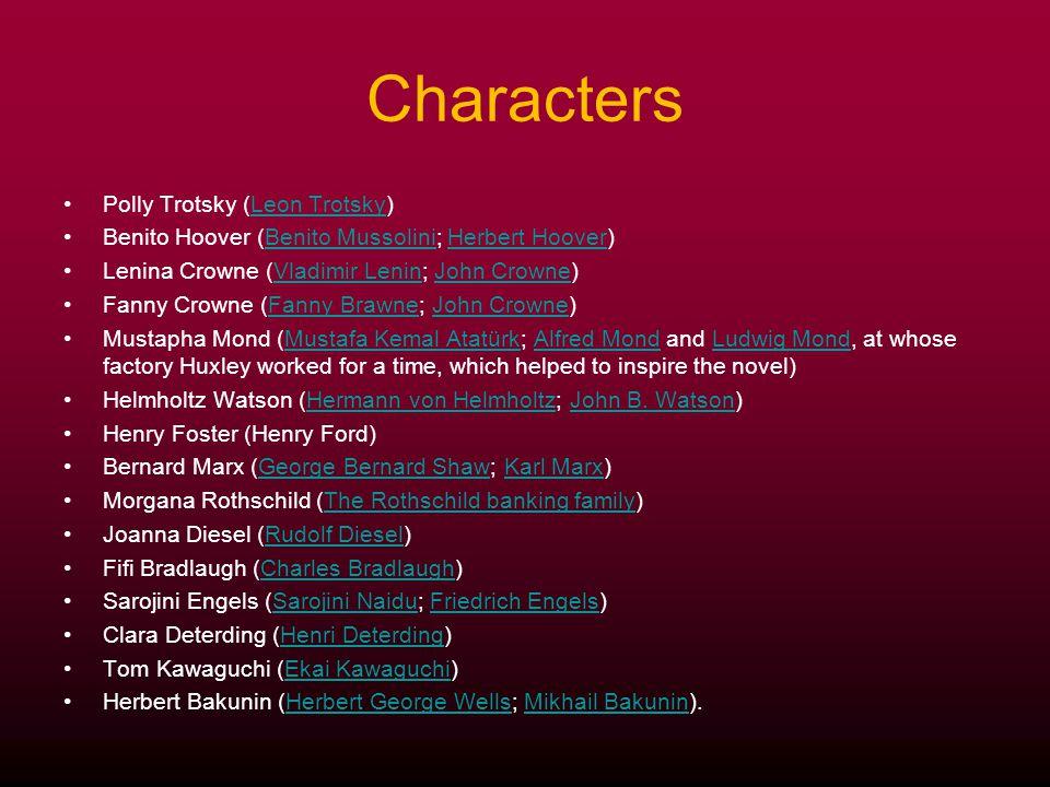 Characters Polly Trotsky (Leon Trotsky)Leon Trotsky Benito Hoover (Benito Mussolini; Herbert Hoover)Benito MussoliniHerbert Hoover Lenina Crowne (Vlad