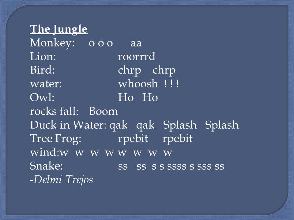 The Jungle Monkey:o o o aa Lion:roorrrd Bird:chrp chrp water:whoosh .