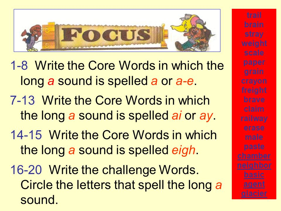 1-8 Write the Core Words in which the long a sound is spelled a or a-e.