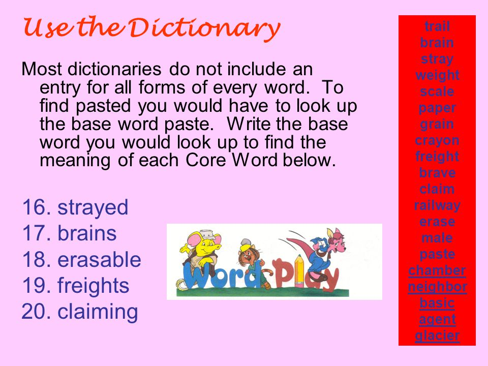 Use the Dictionary Most dictionaries do not include an entry for all forms of every word.
