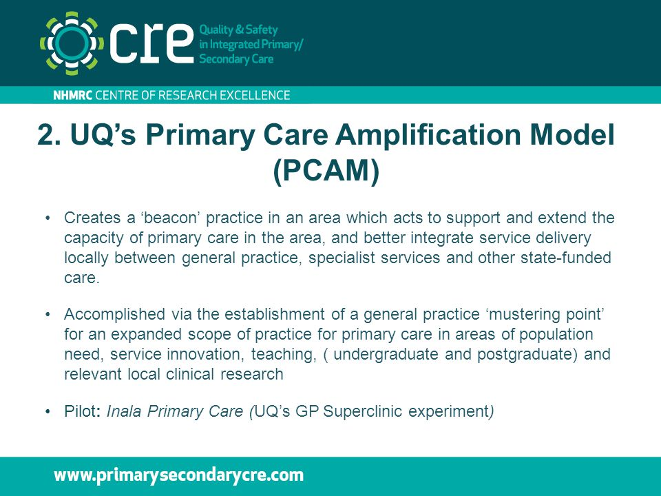 2. UQ's Primary Care Amplification Model (PCAM) Creates a 'beacon' practice in an area which acts to support and extend the capacity of primary care i