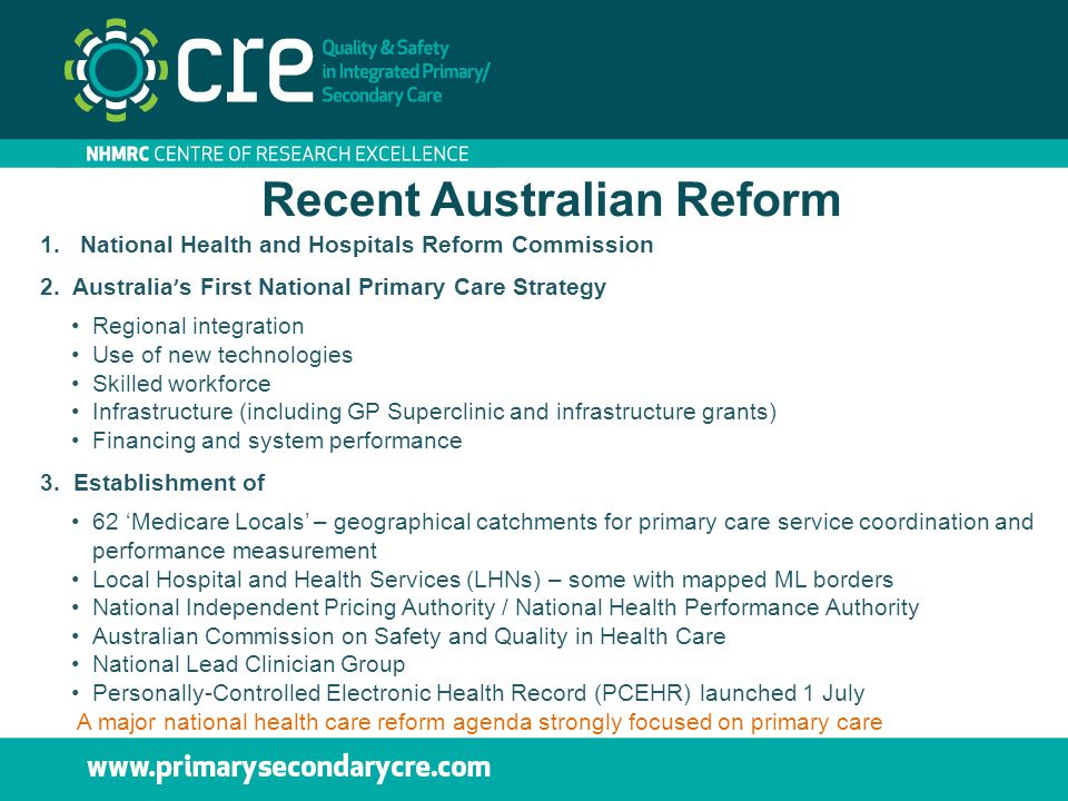 Recent Australian Reform 1.National Health and Hospitals Reform Commission 2. Australia ' s First National Primary Care Strategy Regional integration