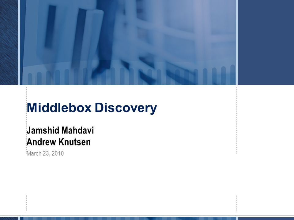 Talk Outline  Middlebox Discovery ID Summary and Status  Discussion of Middlebox Needs  Other Common Middlebox Issues of Potential Interest to IETF  References