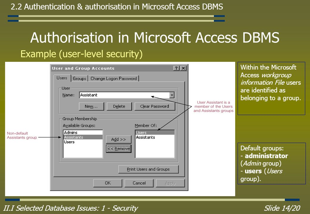 II.I Selected Database Issues: 1 - SecuritySlide 14/20 2.2 Authentication & authorisation in Microsoft Access DBMS Authorisation in Microsoft Access DBMS Example (user-level security) Within the Microsoft Access workgroup information File users are identified as belonging to a group.