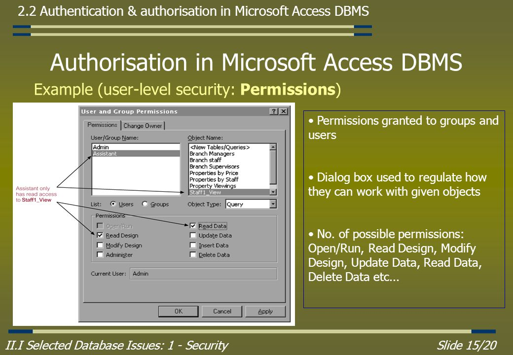 II.I Selected Database Issues: 1 - SecuritySlide 15/20 2.2 Authentication & authorisation in Microsoft Access DBMS Authorisation in Microsoft Access DBMS Example (user-level security: Permissions) Permissions granted to groups and users Dialog box used to regulate how they can work with given objects No.