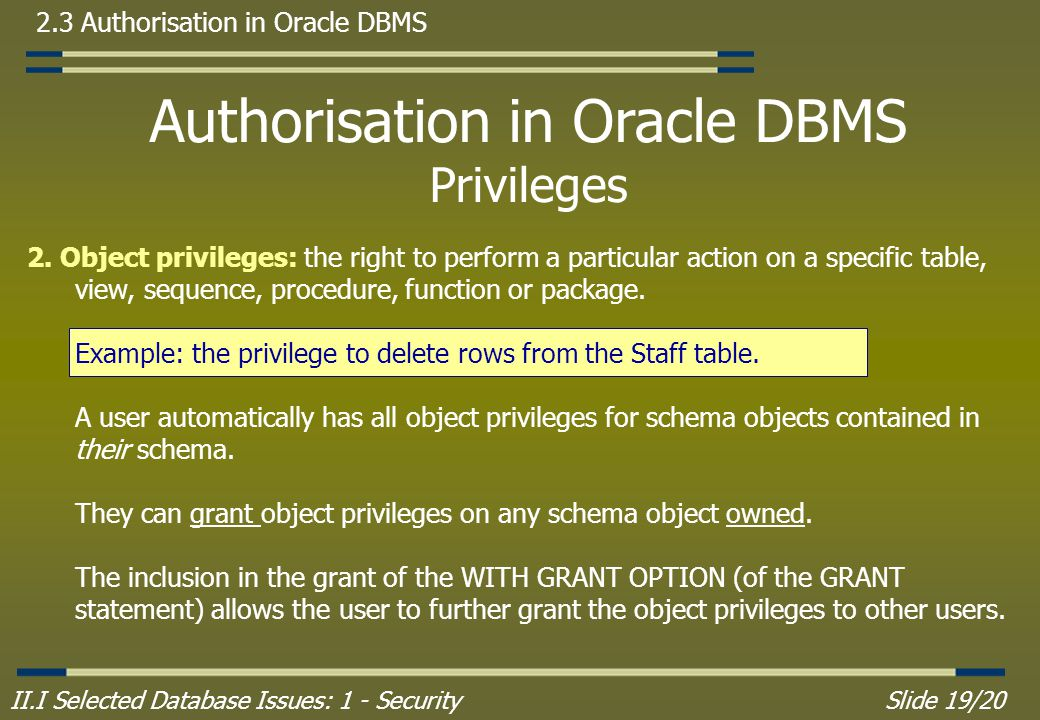 II.I Selected Database Issues: 1 - SecuritySlide 19/20 2.3 Authorisation in Oracle DBMS Authorisation in Oracle DBMS Privileges 2.