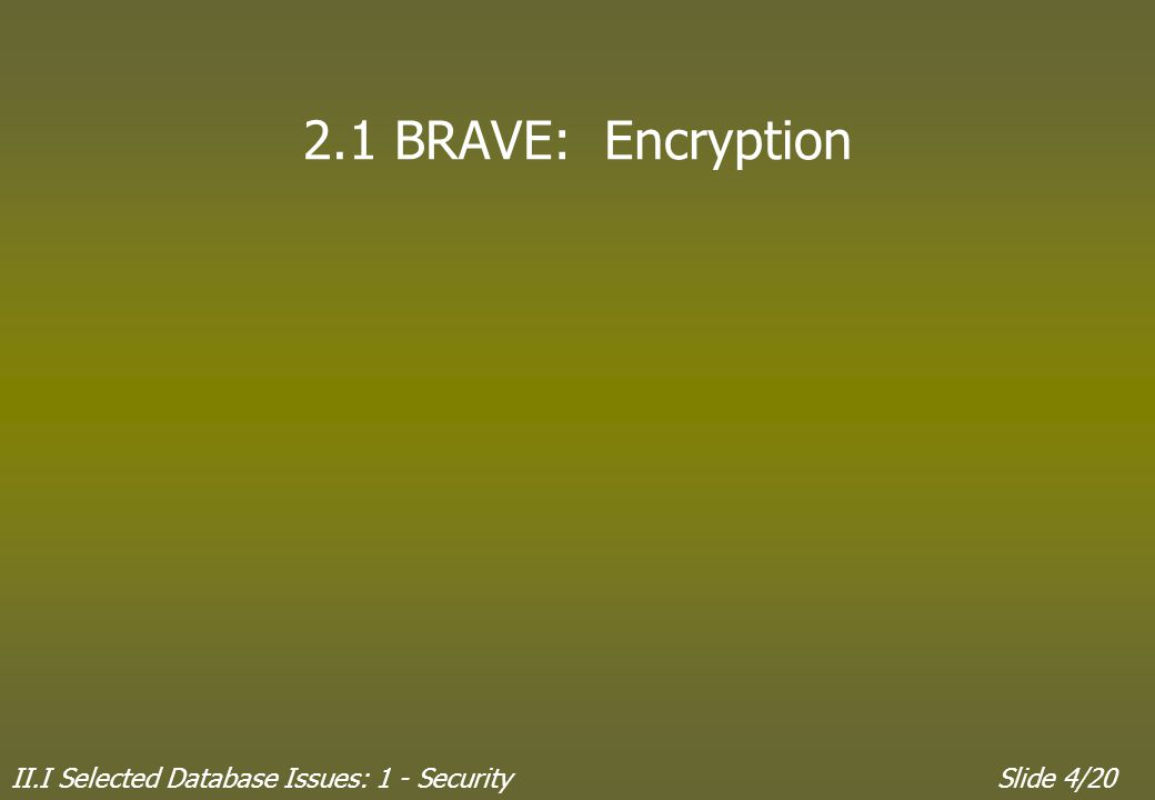 II.I Selected Database Issues: 1 - SecuritySlide 4/20 2.1 BRAVE: Encryption