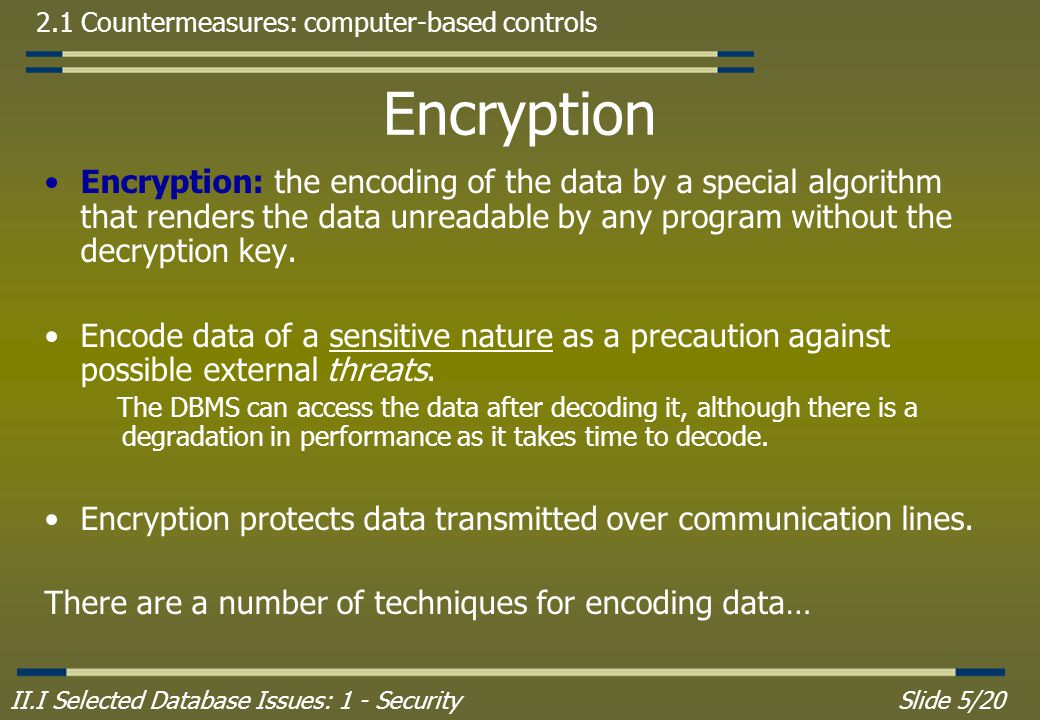 II.I Selected Database Issues: 1 - SecuritySlide 5/20 2.1 Countermeasures: computer-based controls Encryption Encryption: the encoding of the data by a special algorithm that renders the data unreadable by any program without the decryption key.