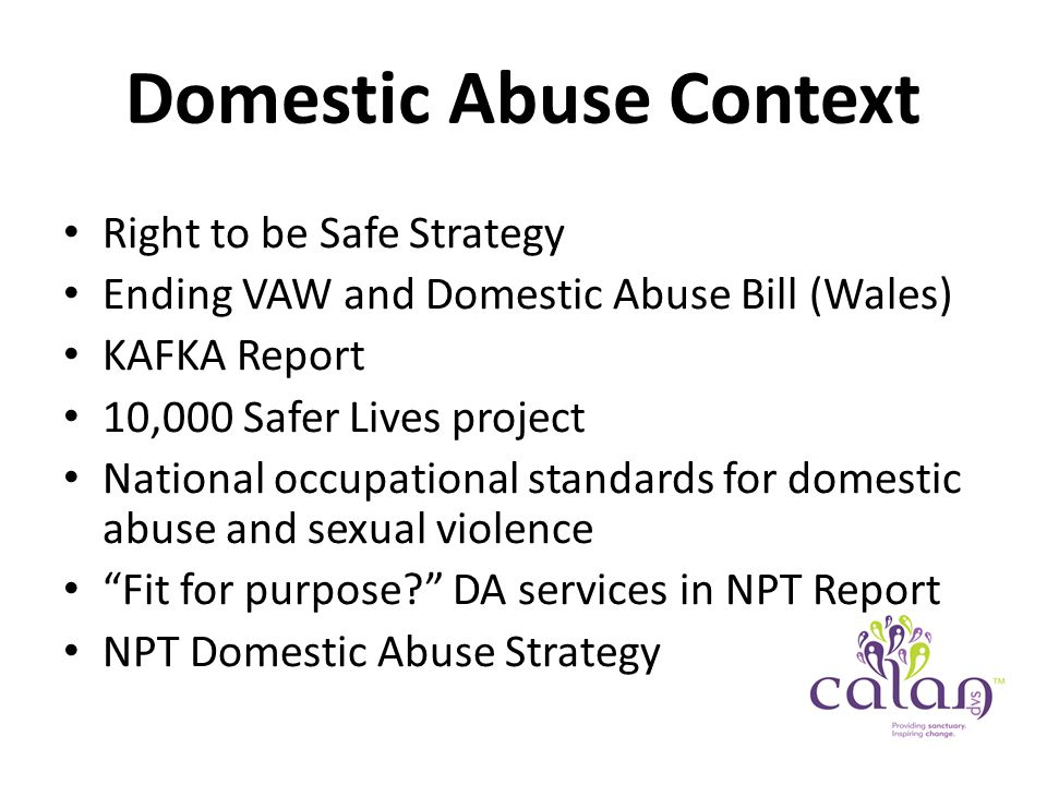 Domestic Abuse Context Right to be Safe Strategy Ending VAW and Domestic Abuse Bill (Wales) KAFKA Report 10,000 Safer Lives project National occupational standards for domestic abuse and sexual violence Fit for purpose DA services in NPT Report NPT Domestic Abuse Strategy