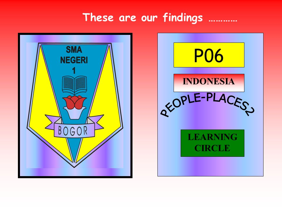 P06 INDONESIA LEARNING CIRCLE These are our findings …………