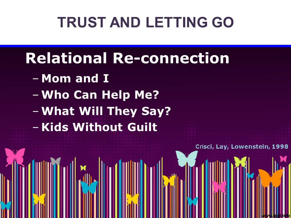 TRUST AND LETTING GO Relational Re-connection –Mom and I –Who Can Help Me? –What Will They Say? –Kids Without Guilt Cri sci, Lay, Lowenstein, 1998