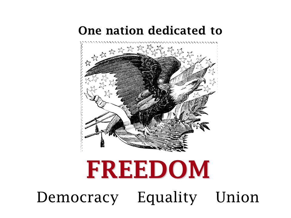 FREEDOM One nation dedicated to Democracy Equality Union