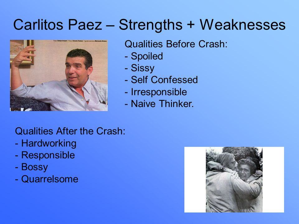 Carlitos Paez – Strengths + Weaknesses Qualities Before Crash: - Spoiled - Sissy - Self Confessed - Irresponsible - Naive Thinker.