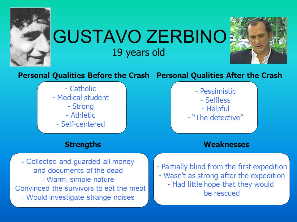GUSTAVO ZERBINO 19 years old Personal Qualities Before the CrashPersonal Qualities After the Crash StrengthsWeaknesses - Catholic - Medical student - Strong - Athletic - Self-centered - Pessimistic - Selfless - Helpful - The detective - Partially blind from the first expedition - Wasn't as strong after the expedition - Had little hope that they would be rescued - Collected and guarded all money and documents of the dead - Warm, simple nature - Convinced the survivors to eat the meat - Would investigate strange noises