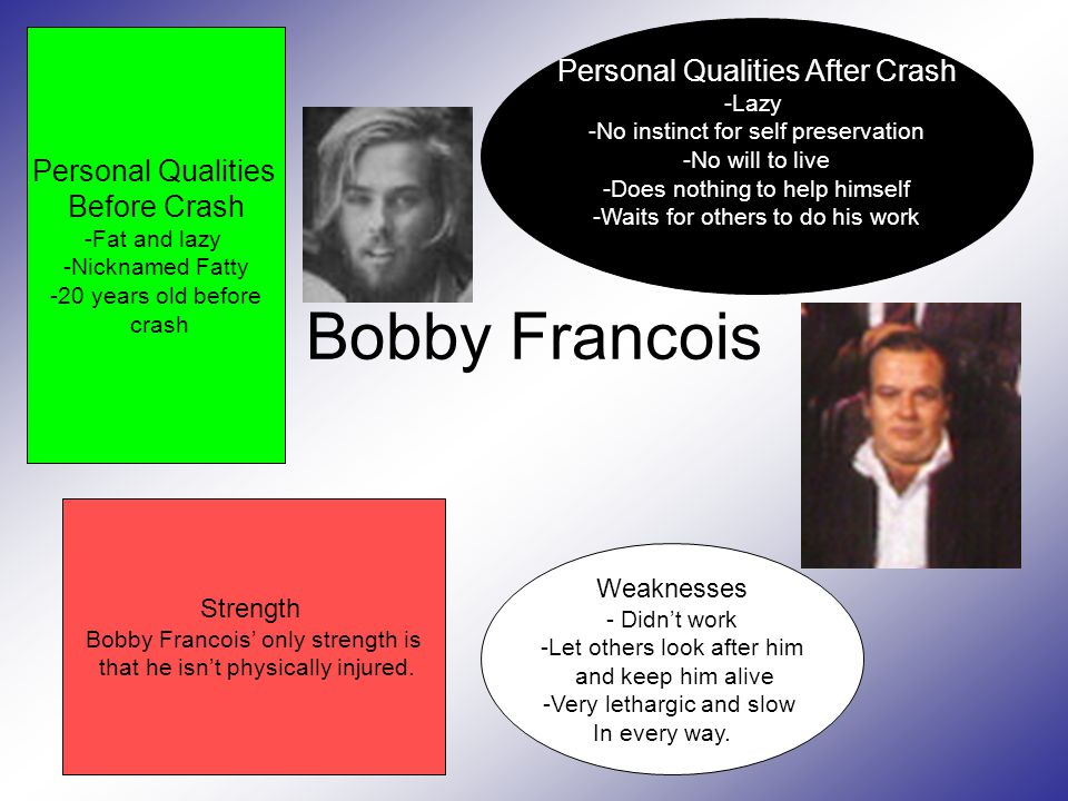 Bobby Francois Personal Qualities After Crash -Lazy -No instinct for self preservation -No will to live -Does nothing to help himself -Waits for others to do his work Personal Qualities Before Crash -Fat and lazy -Nicknamed Fatty -20 years old before crash Weaknesses - Didn't work -Let others look after him and keep him alive -Very lethargic and slow In every way.
