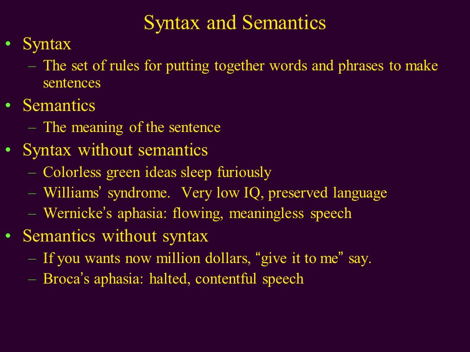 Syntax and Semantics Syntax –The set of rules for putting together words and phrases to make sentences Semantics –The meaning of the sentence Syntax without semantics –Colorless green ideas sleep furiously –Williams' syndrome.