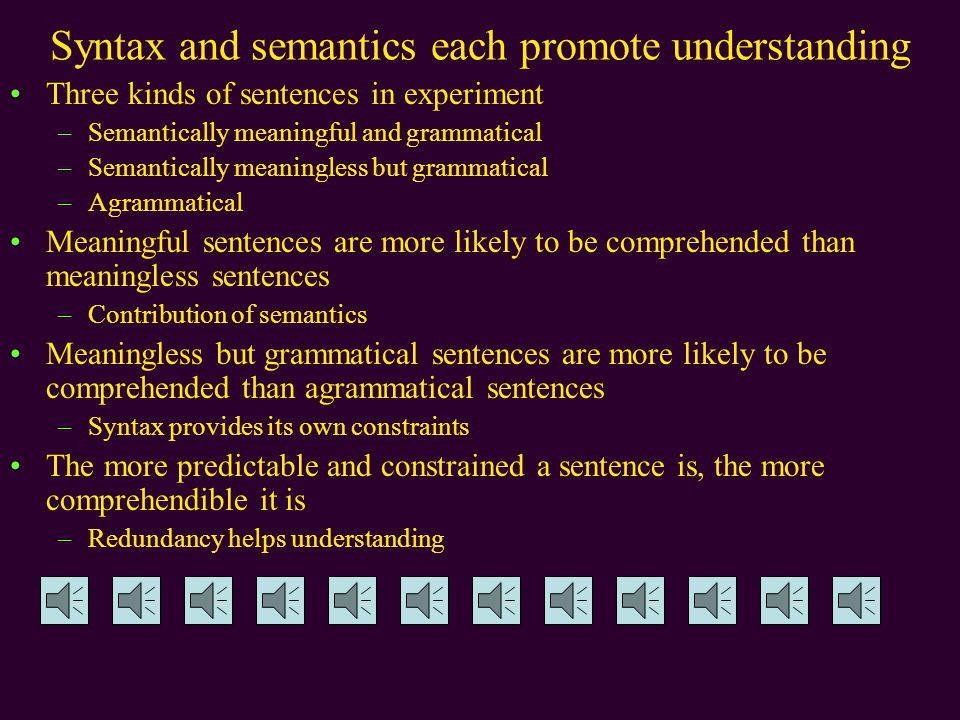 Syntax and semantics each promote understanding Three kinds of sentences in experiment –Semantically meaningful and grammatical –Semantically meaningless but grammatical –Agrammatical Meaningful sentences are more likely to be comprehended than meaningless sentences –Contribution of semantics Meaningless but grammatical sentences are more likely to be comprehended than agrammatical sentences –Syntax provides its own constraints The more predictable and constrained a sentence is, the more comprehendible it is –Redundancy helps understanding