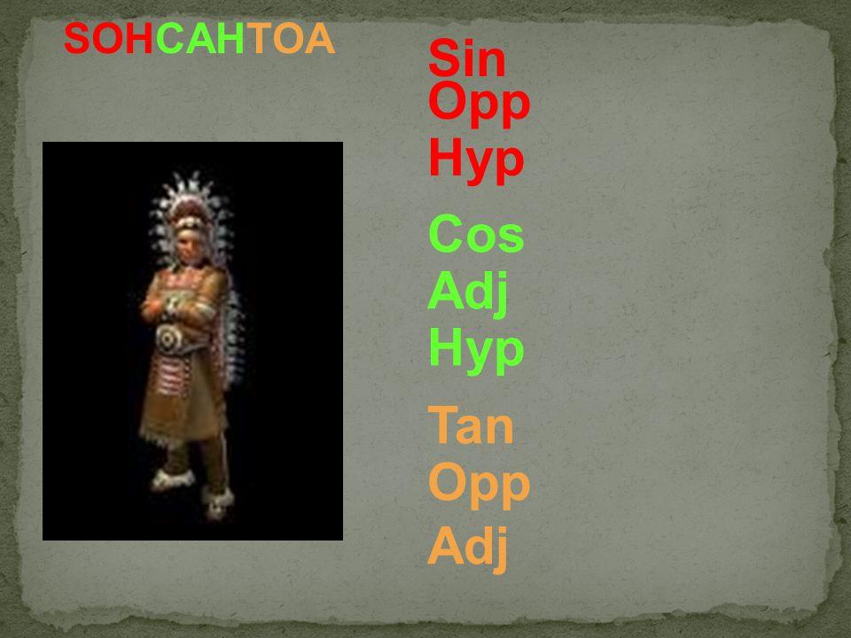 SOHCAHTOA Sin Opp Hyp Cos Adj Hyp Tan Opp Adj