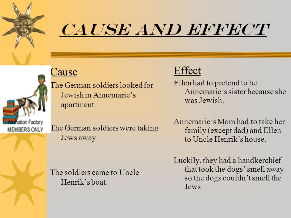 Cause and effect Cause The German soldiers looked for Jewish in Annemarie's apartment.
