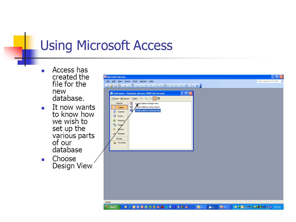 Using Microsoft Access Access has created the file for the new database.