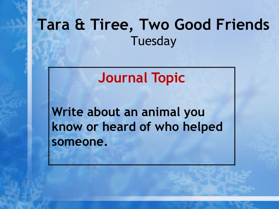 Tara & Tiree, Two Good Friends Tuesday Journal Topic Write about an animal you know or heard of who helped someone.