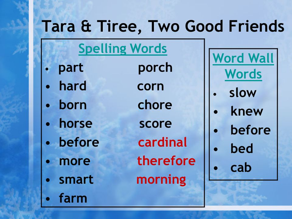 Tara & Tiree, Two Good Friends Spelling Words part porch hard corn born chore horse score before cardinal more therefore smart morning farm Word Wall