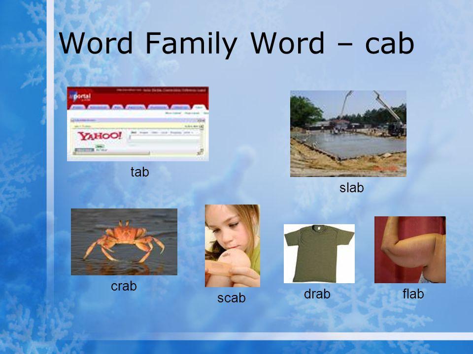 Word Family Word – cab tab slab crab scab drab flab