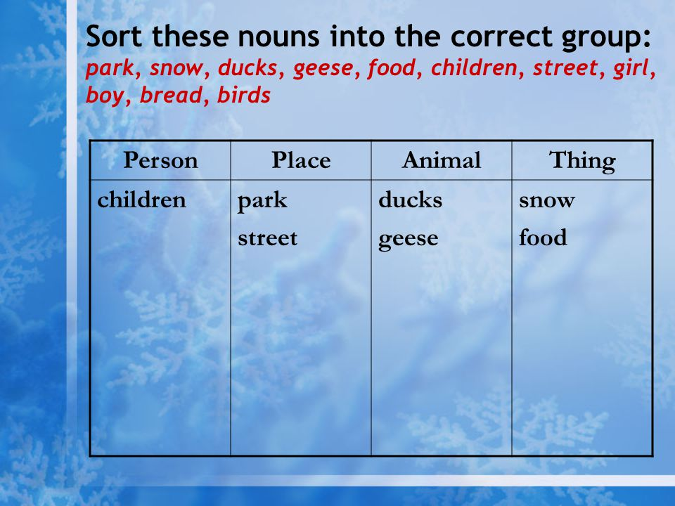Sort these nouns into the correct group: park, snow, ducks, geese, food, children, street, girl, boy, bread, birds PersonPlaceAnimalThing childrenpark