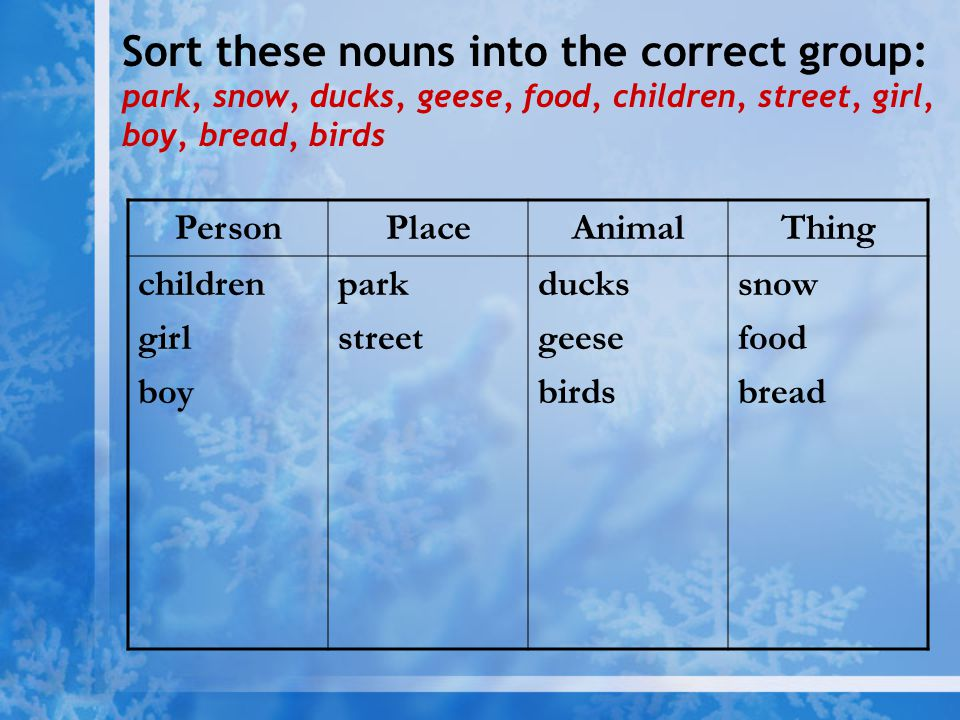 Sort these nouns into the correct group: park, snow, ducks, geese, food, children, street, girl, boy, bread, birds PersonPlaceAnimalThing children gir