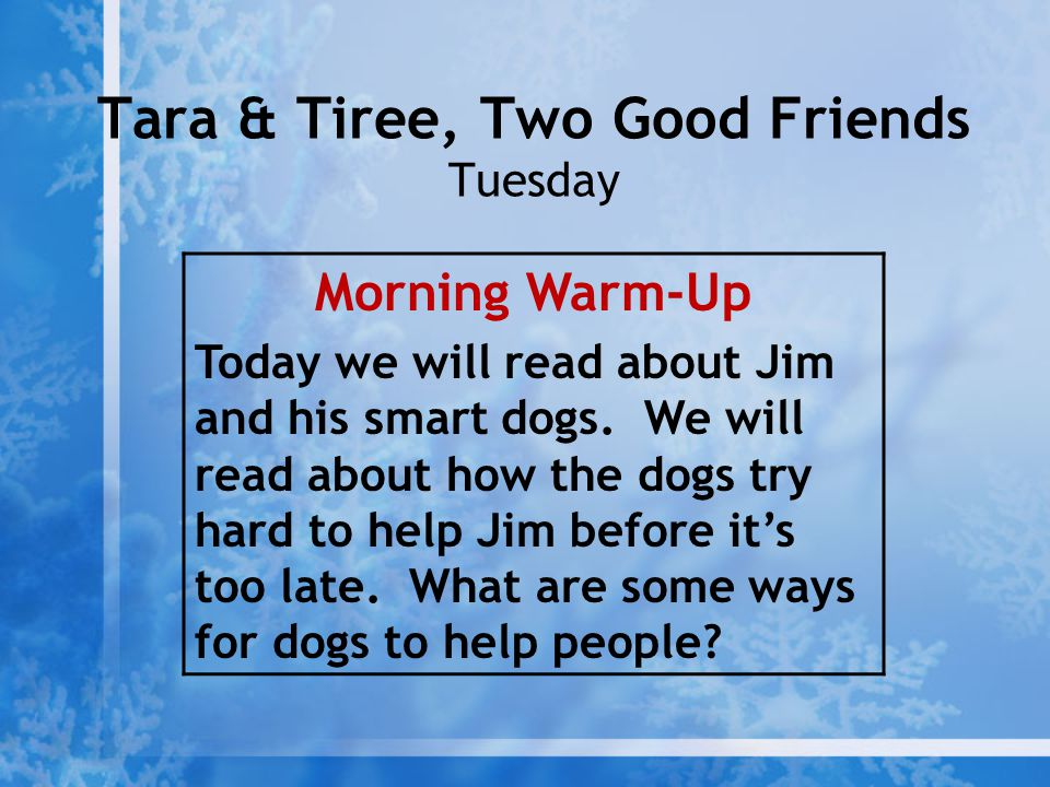 Tara & Tiree, Two Good Friends Tuesday Morning Warm-Up Today we will read about Jim and his smart dogs. We will read about how the dogs try hard to he