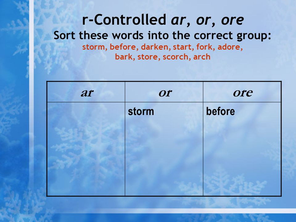 r-Controlled ar, or, ore Sort these words into the correct group: storm, before, darken, start, fork, adore, bark, store, scorch, arch arorore stormbe