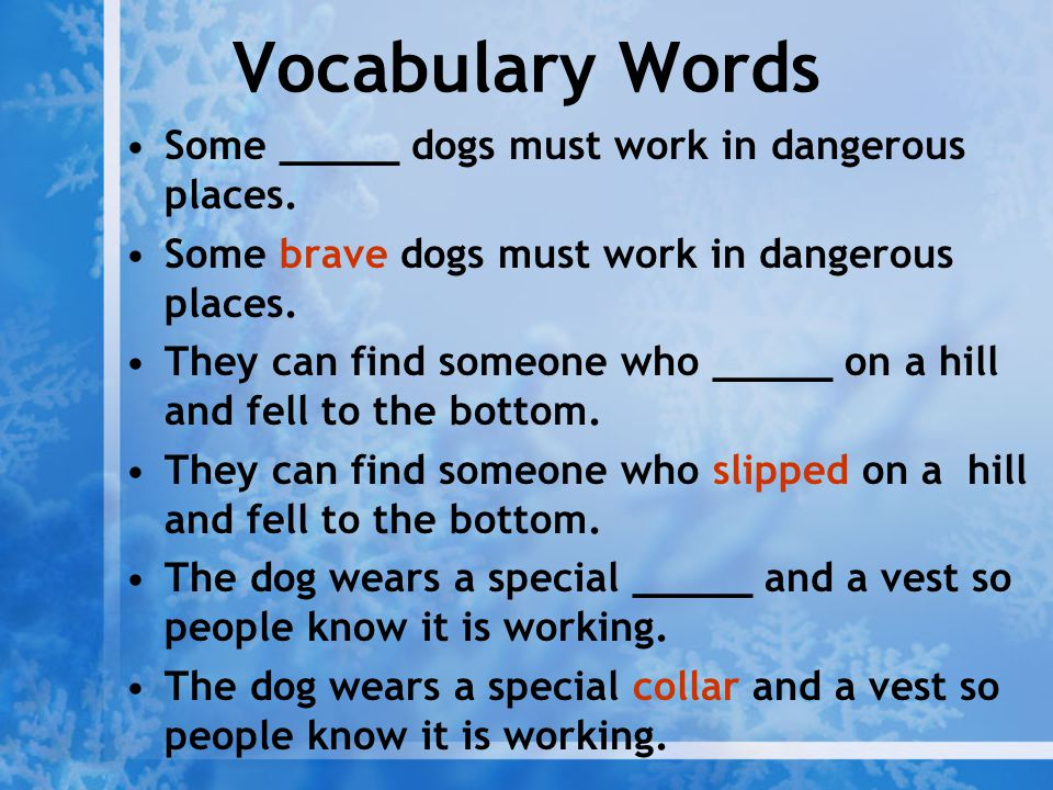 Vocabulary Words Some _____ dogs must work in dangerous places. Some brave dogs must work in dangerous places. They can find someone who _____ on a hi