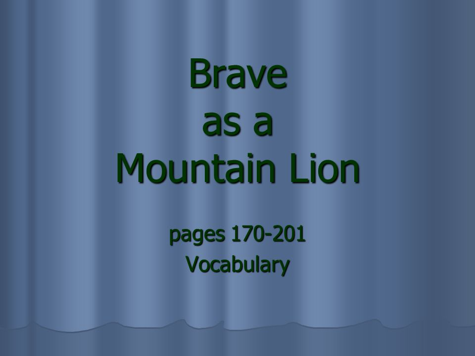 Brave as a Mountain Lion pages 170-201 Vocabulary