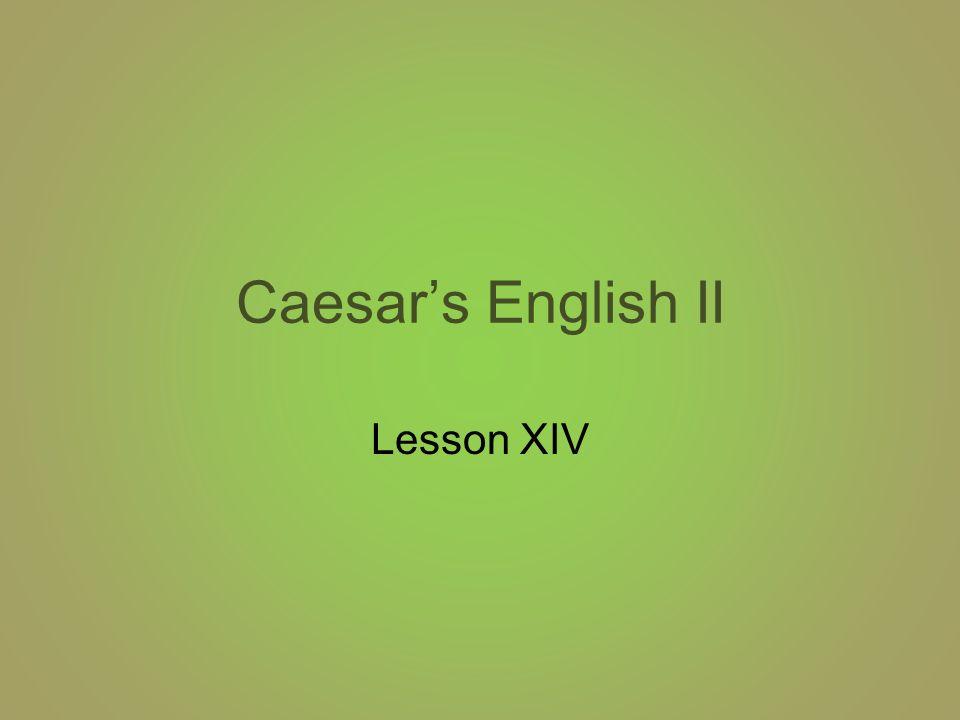 Caesar's English XIV 1.verdure: vegetation 2.equivocal: ambiguous 3.orthodox: traditional 4.profane: irreverent 5.tumult: disturbance