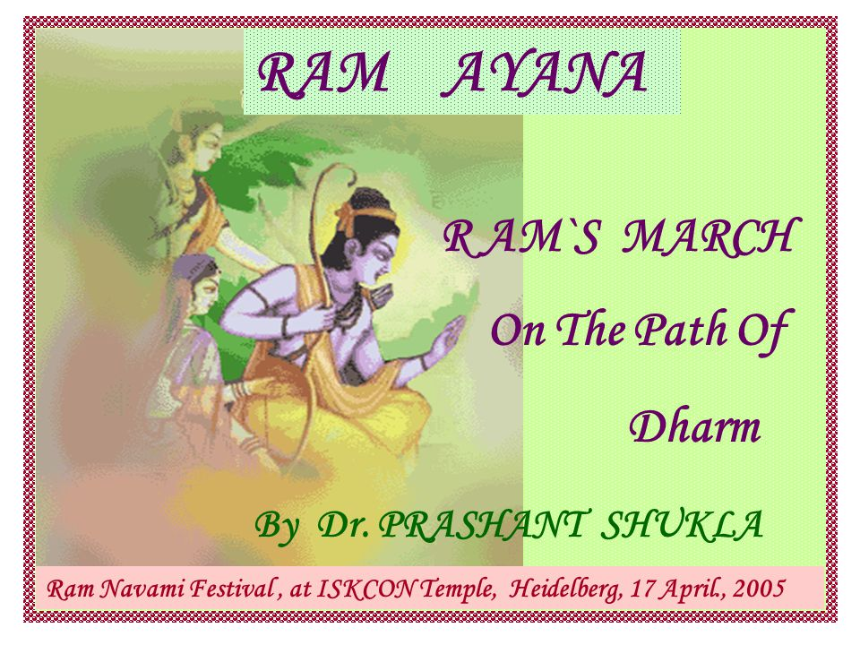 TIMINGS of RAMAYANA Maharishi Valmiki had given the location of planets, zodiac constellations and the other stars (nakshatras) On all occasions of Ram's life These positions entered by Saroj Bala into a modern software called planatarium and obtained interesting dates Ram's Birth : 5114 BC Ram's Exile starts: 5089 BC First Deepavali : 5076 BC Mahabharata War : 1478 BC Dwarka City merged under the sea : 1443 BC.