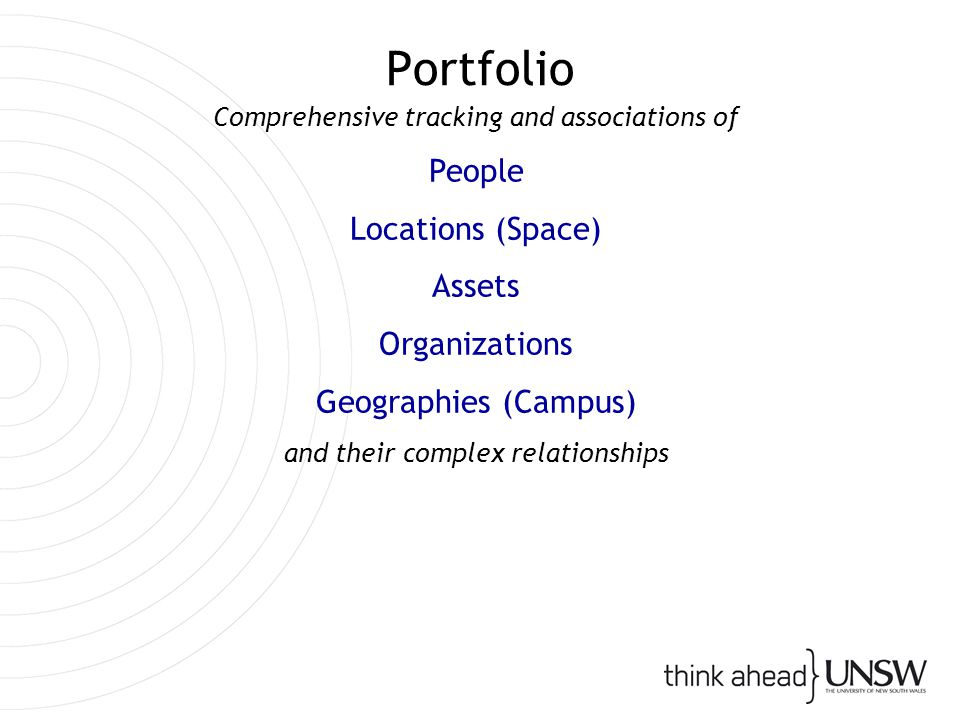 Portfolio Comprehensive tracking and associations of People Locations (Space) Assets Organizations Geographies (Campus) and their complex relationships