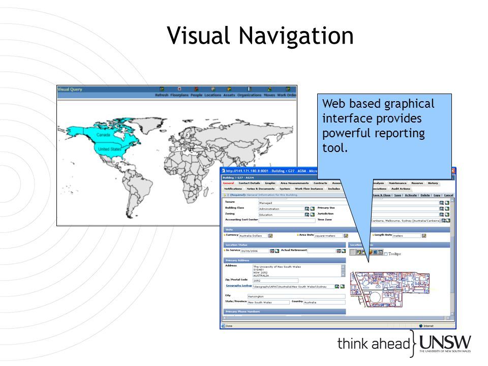Visual Navigation Web based graphical interface provides powerful reporting tool.