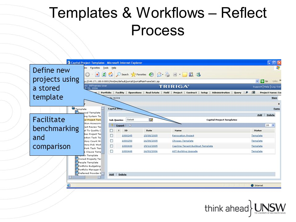 Templates & Workflows – Reflect Process Define new projects using a stored template Facilitate benchmarking and comparison